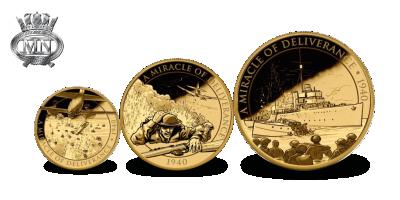 80 jaar Slag om Duinkerke - herdacht in 3-delige set gouden Soevereinen