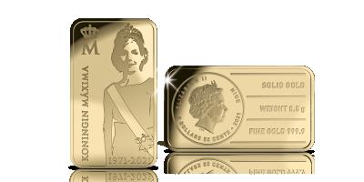 Staatsieportret 'Koningin Máxima 50 jaar' in puur goud