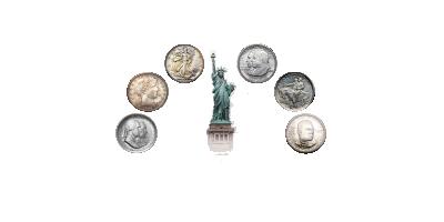 Set met 6 historische zilveren Halve Dollars